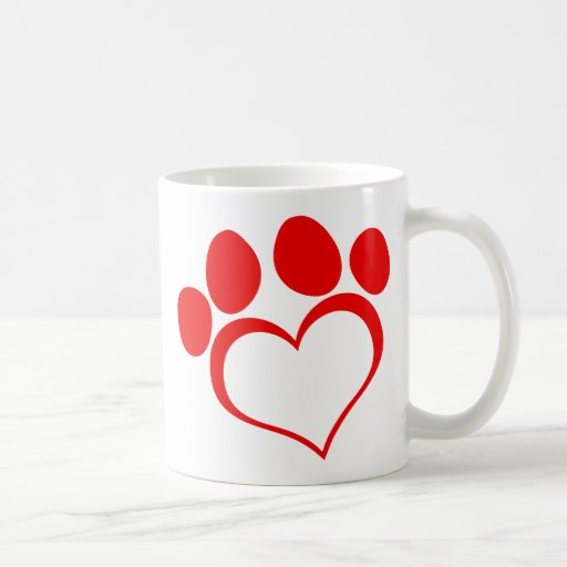RED LOVE PAW PRINT ANIMALS CAUSES PETS CARING MOTI COFFEE MUGS