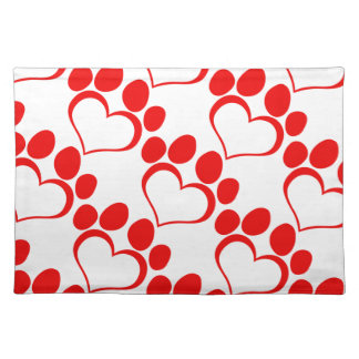 RED LOVE PAW PRINT ANIMALS CAUSES PETS CARING MOTI PLACE MAT