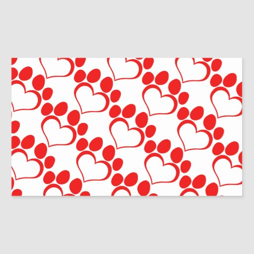 RED LOVE PAW PRINT ANIMALS CAUSES PETS CARING MOTI STICKER