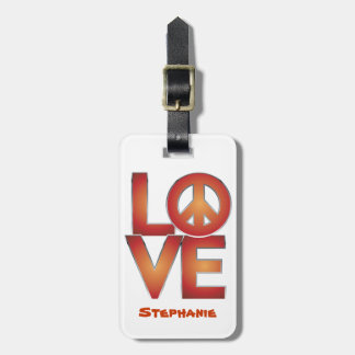 Red LOVE=Peace Luggage Tag