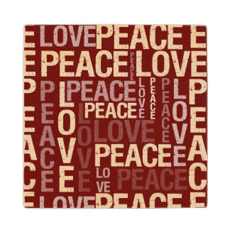 Red Love Peace Typography Maple Wood Coaster