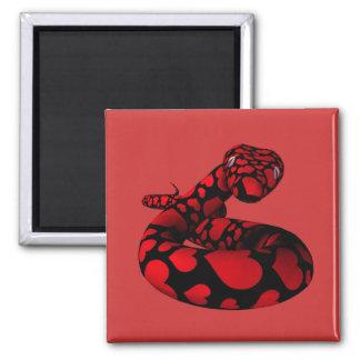 Red Love Python Square Magnet