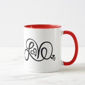 Red Love Ringer Mug
