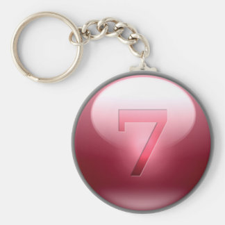 Red Lucky 7 Key Ring