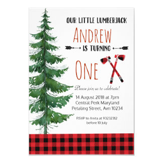 Red Lumberjack First Birthday Party Invitation