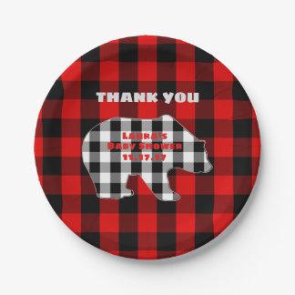 Red Lumberjack Plaid Woodland Bear Boy Baby Shower Paper Plate
