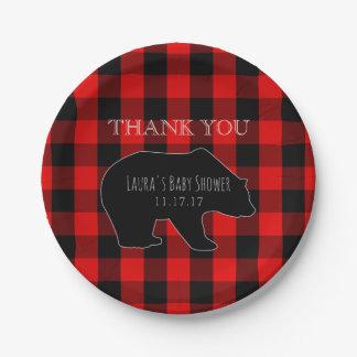 Red Lumberjack Plaid | Woodland Boy Baby Shower Paper Plate