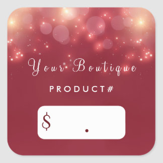 Red Luxe Bokeh Sparkle Elegant Boutique Price Tags