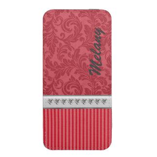 Red luxury damask narrow stripes diamond hearts