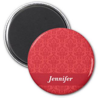 Red luxury elegant damask custom girls name magnet