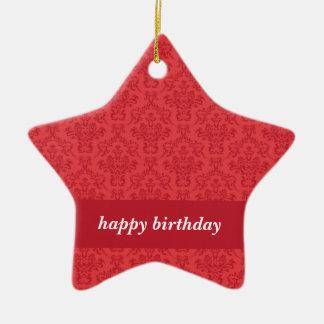 Red luxury elegant damask happy birthday ornament