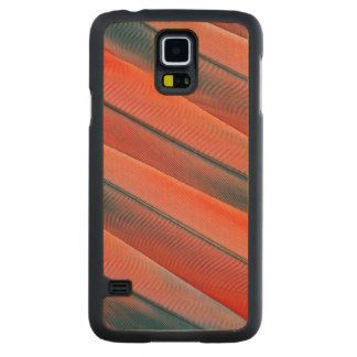Red Macaw Feather Abstract Carved Maple Galaxy S5 Case