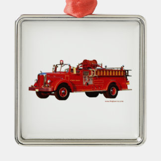 Red_Mack_Fire_truck_Texturized Christmas Ornament