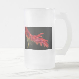 Red Macro Gerbera Flower Glass Frosted Glass Beer Mug