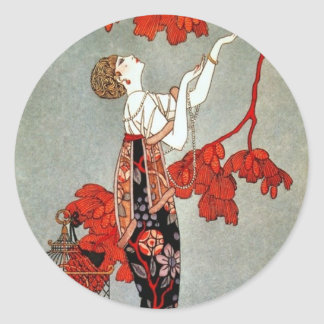 Red Madame Art Deco Design Round Sticker