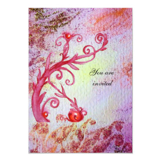 RED MAGIC SWIRLS IN  PURPLE YELLOW GOLD SPARKLES 13 CM X 18 CM INVITATION CARD
