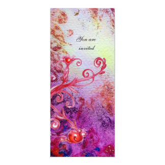 "RED MAGIC SWIRLS IN  PURPLE YELLOW GOLD SPARKLES 4"" X 9.25"" INVITATION CARD"