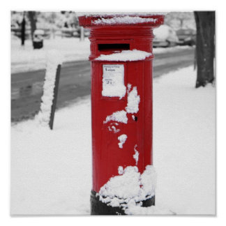 Red Mail Box in the Snow Poster