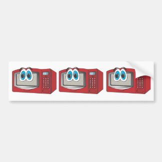 Red Male Microwave Cartoon Bumper Stickers