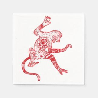 Red Mandala Fire Monkey Cocktail Paper Napkins
