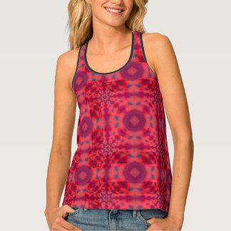Red Mandala Kaleidoscope Pattern Tank Top