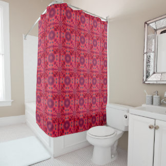 Red Mandala Kaleidoscope Shower Curtain