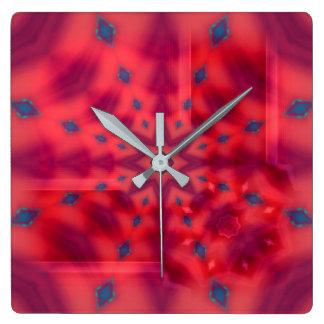 Red Mandala Kaleidoscope Wall Clocks