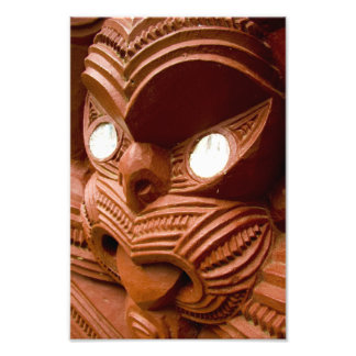 Red Maori Carving Photographic Print