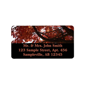 Red Maple Branches Autumn Colorful Address Label