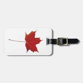 Red maple canadian leaf luggage tag