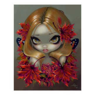 Red Maple Fairy ART PRINT autumn leaves fantasy