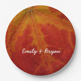 Red Maple Leaf Abstract Autumn Nature Photography Paper Plate