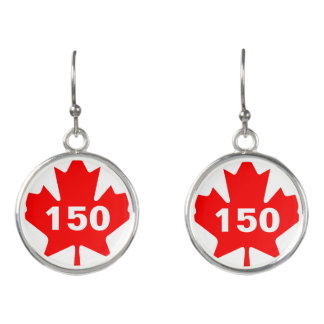 Red Maple Leaf Canada 150 customizable Earrings