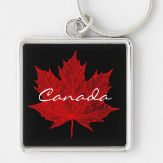 Red Maple Leaf- Canada Silver-Colored Square Key Ring