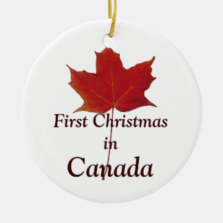 Red maple leaf  - first Christmas in Canada Christmas Ornament