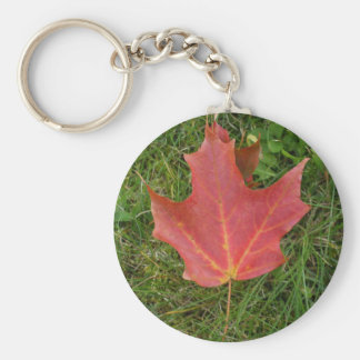 Red Maple Leaf on Grass-Canada Day Basic Round Button Key Ring
