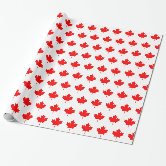Red Maple Leaf Pattern Wrapping Paper