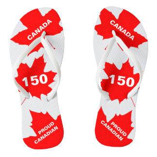 Red Maple Leaf Proud Canadian Funny customizable Flip Flops