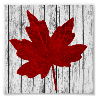 Red Maple Leaf Rustic Wood Personalize Poster