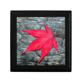 Red maple leave on black burnt wood small square gift box