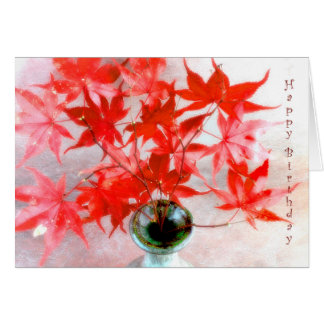 Red Maple Leaves Autumn Birthday Card
