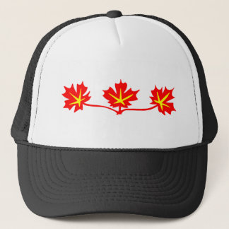 Red Maple Leaves Canadian Standard Symbol Trucker Hat