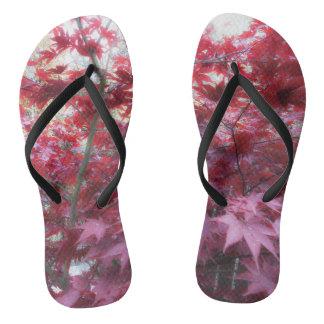 Red Maple Leaves Flip Flops