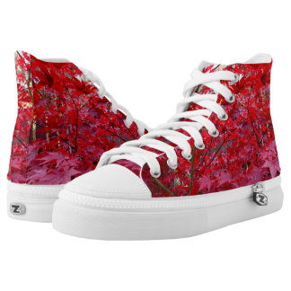 Red Maple Leaves Printed Shoes