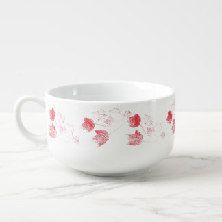Red Maple Leaves Worn Stamped Patter Soup Mug