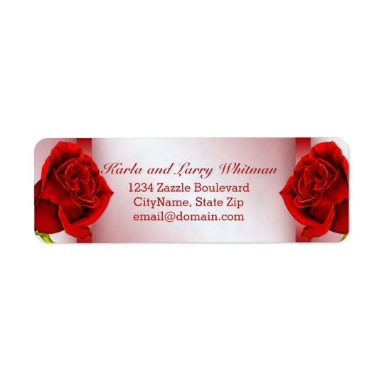 Red Marble and Roses Return Address Label