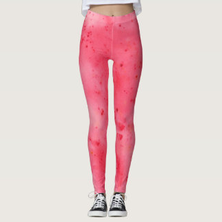 Red Marble Watercolour Leggings