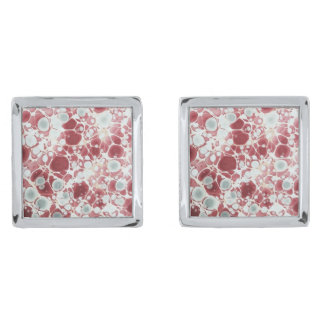 Red marbled paper silver finish cufflinks
