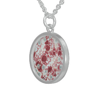 Red marbled paper sterling silver necklace