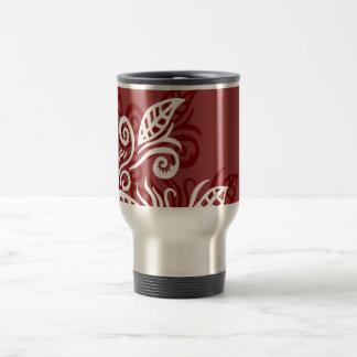 red maroon leaf modern design mug